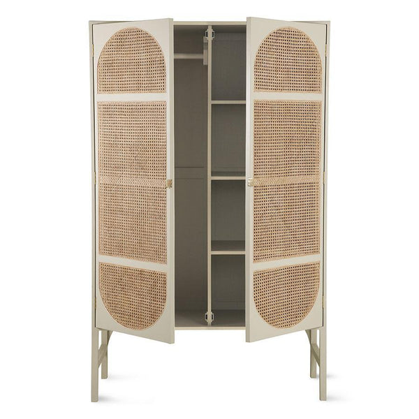 Handmade cabinet of Mahogany wood with webbing in light grey in retro style. The cabinet has hinges and handles made of brass.