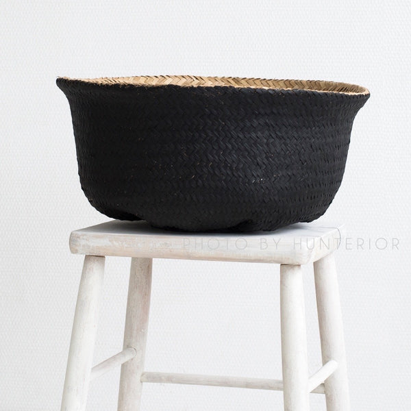 Natural/Black Seagrass Basket L