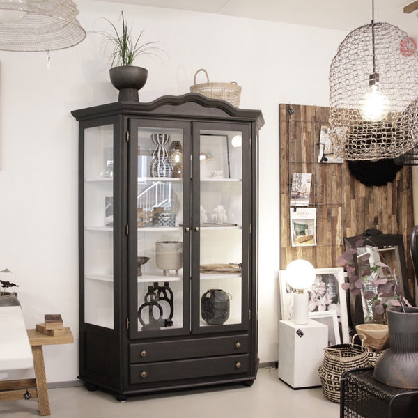 Large Glass Cabinet Black