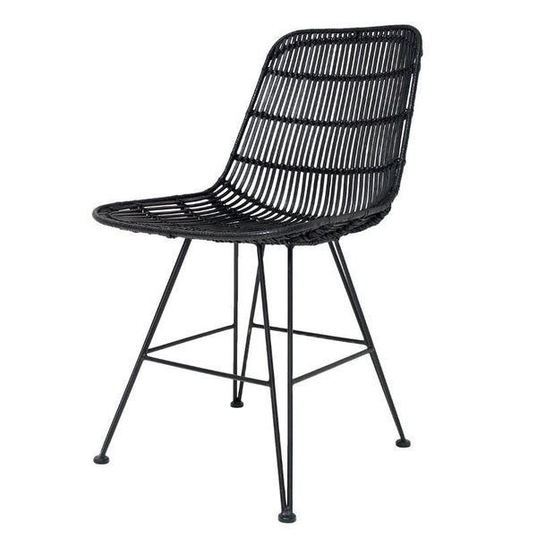 Rattan Dining Chair Black