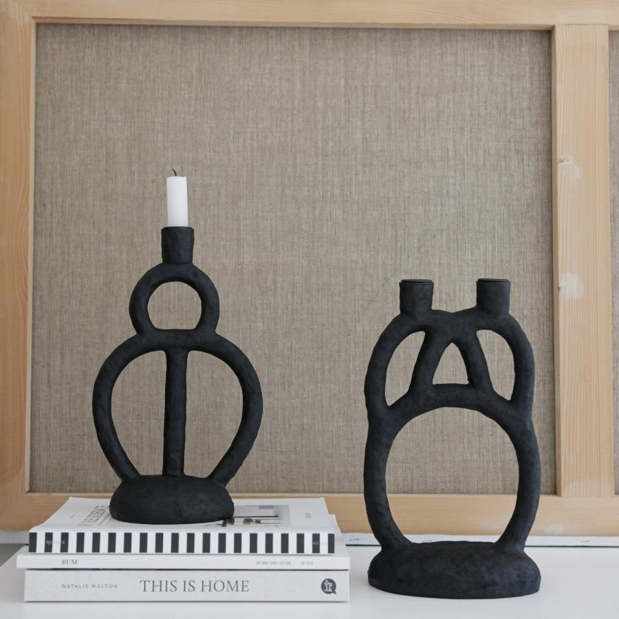 candle holder matt black candlestick beautiful shape polyresin decorative küünlajalg matt must kauni kujuga dekoratiivne küünla alus