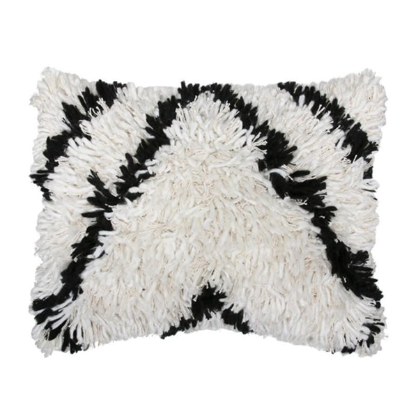 Shaggy Cushion black/white (40x50)