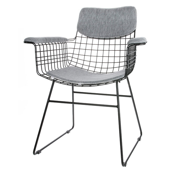 Wire Chair with Arms Comfort Kit Grey