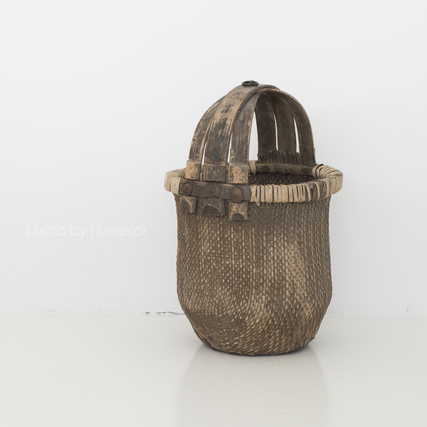 old antique basket from china vana antiikne korv hiinast wooden puidust with handle sangaga