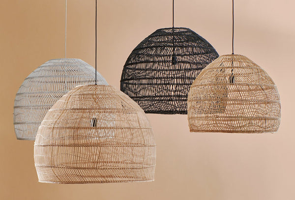 Wicker hanging lamp Ball Natural M