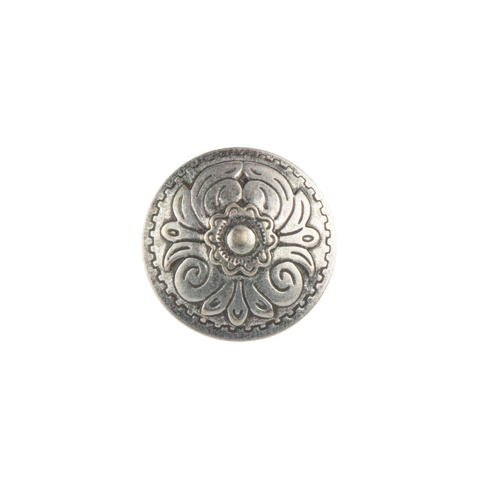 "Stamped Steel Rivet Back Floral Concho, 25mm (1""), AS"