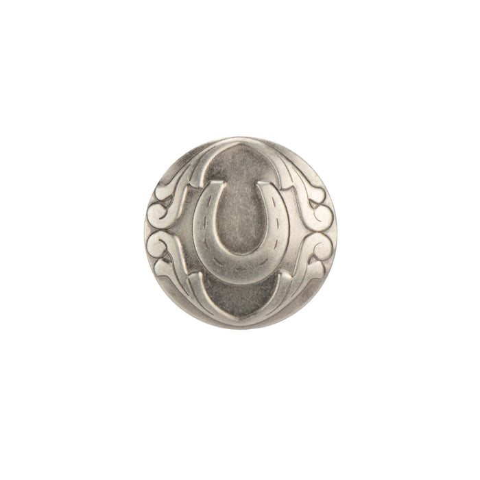 "Stamped Steel Rivet Back Horseshoe Concho, 25mm (1""), AS"