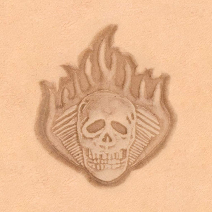 Motorcycle & Punk Stamp - Skull Motor Flame