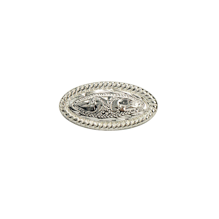"Rope Edge Rivet Back Oval Concho, 13mm (1/2""), SP"