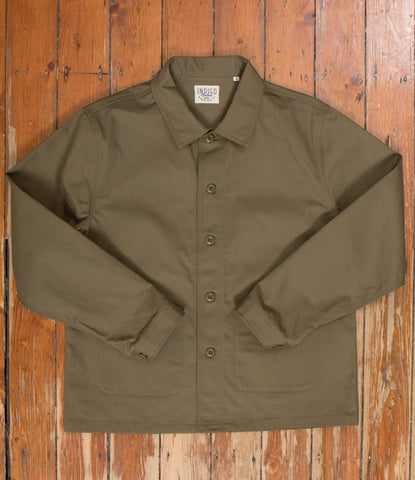 Workers Jacket Washed Herringbone - Olive