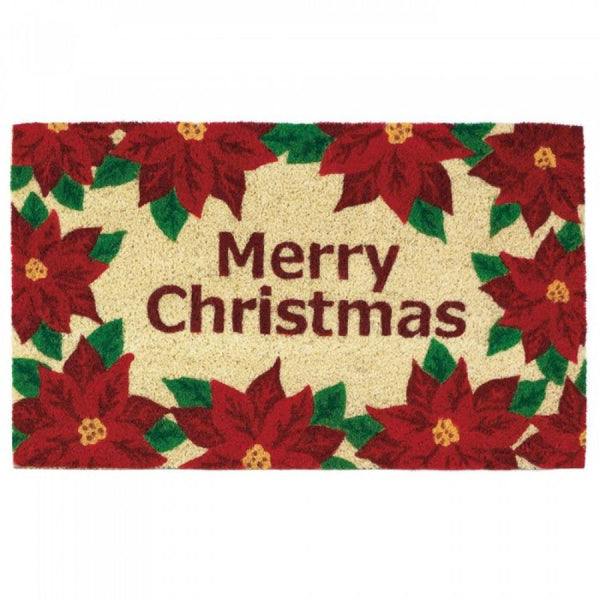 Christmas Poinsettias Welcome Mat