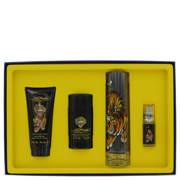 Ed Hardy By Christian Audigier Gift Set -- 3.4 Oz Eau Detoilette Spray + .25 Oz Mni Edt Spray + 3 Oz Shower Gel + 2.75 Oz Deodorant Stick