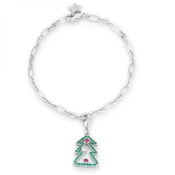 Christmas Tree 0.35ct Cz Rhodium Holiday Charm Bracelet