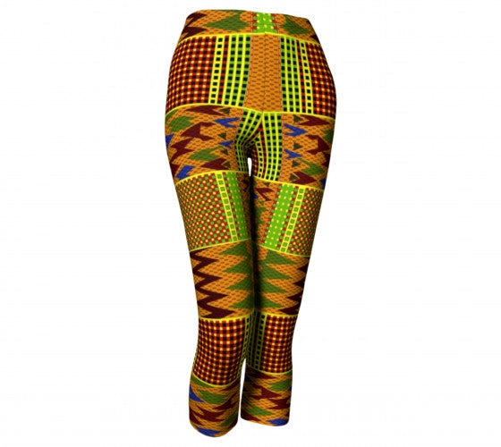 Kente African print capri leggings