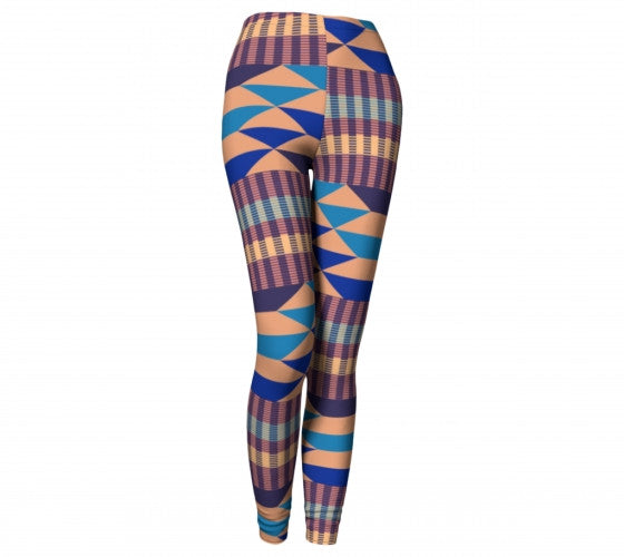 Blue kente yoga pants
