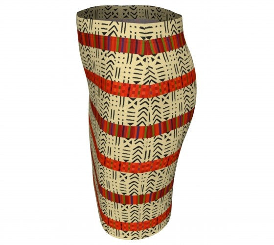 Kente print fitted skirt
