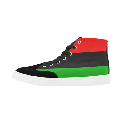 red black and green high top shoes