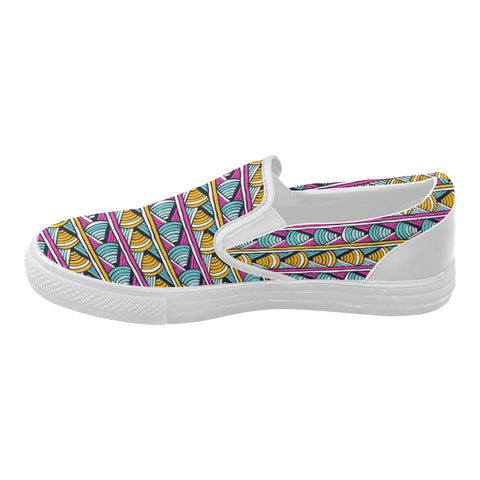 colorful tribal print slip on shoes