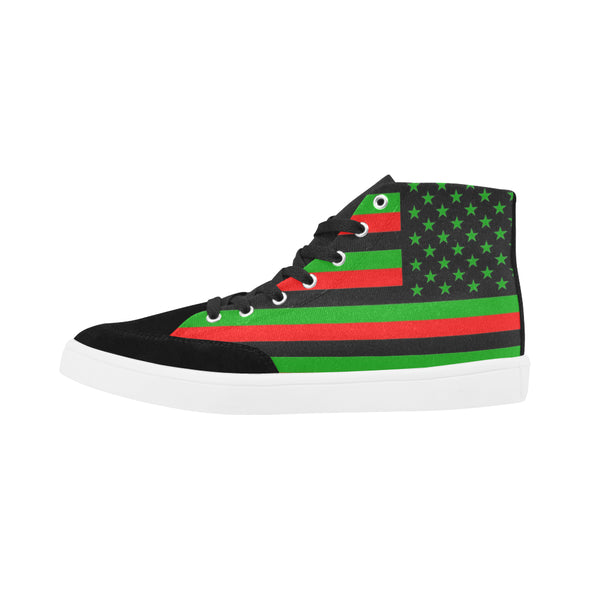 Red, black and green american flag shoes