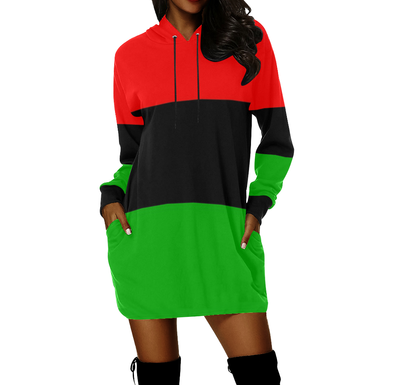 Pan-African flag hoodie dress