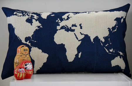 Rectangular World Map Cushion Cover