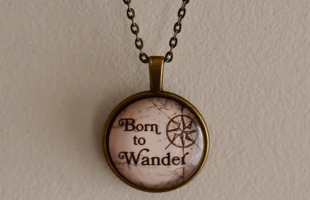 Born to Wander Glass Dome Necklace
