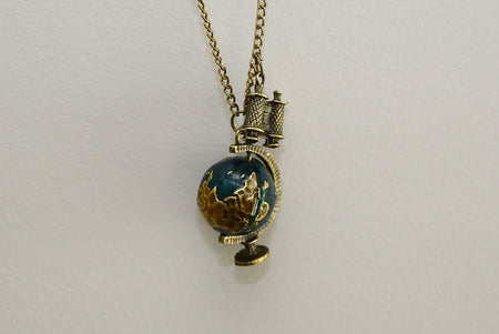 Vintage Globe and Binoculars necklace