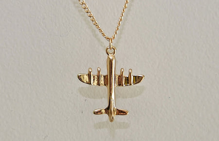 Dainty Gold Plated Airplane Necklace