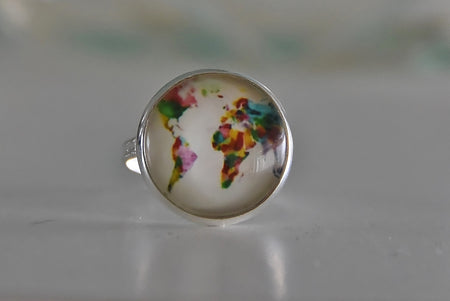 Glass Dome World Map Adjustable Ring