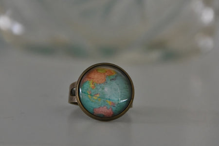 Antique Style Bronze Globe Map Ring