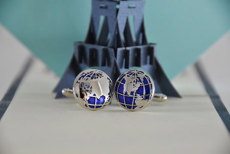 Blue and Silver World Globe Cufflinks