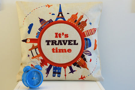 """It's Travel Time!"" Cushion Cover"