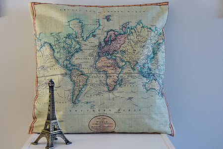 World Map Cushion Cover Antique look