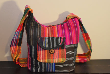 Pink and Grey Patchwork Shoulder Bag from the Fair Trade Andean Collection
