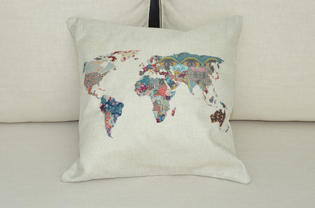 Floral World Map Cushion Cover