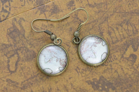 World Map Dome Earrings - Bronze