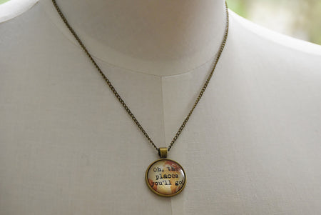 Antique Look Dr Seuss Necklace- Oh the Places You'll Go Dome Glass Necklace
