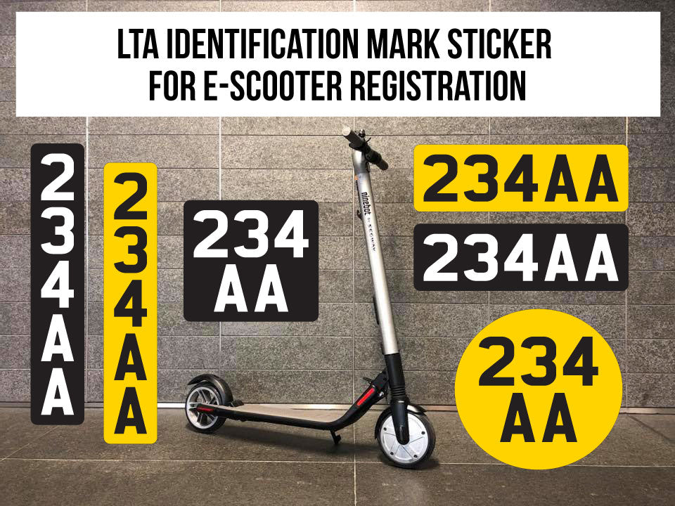 LTA Identification Mark Sticker for E-scooter Registration