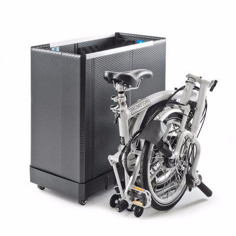 B&W Brompton Travel Box with four wheels, compact design easy for storage.