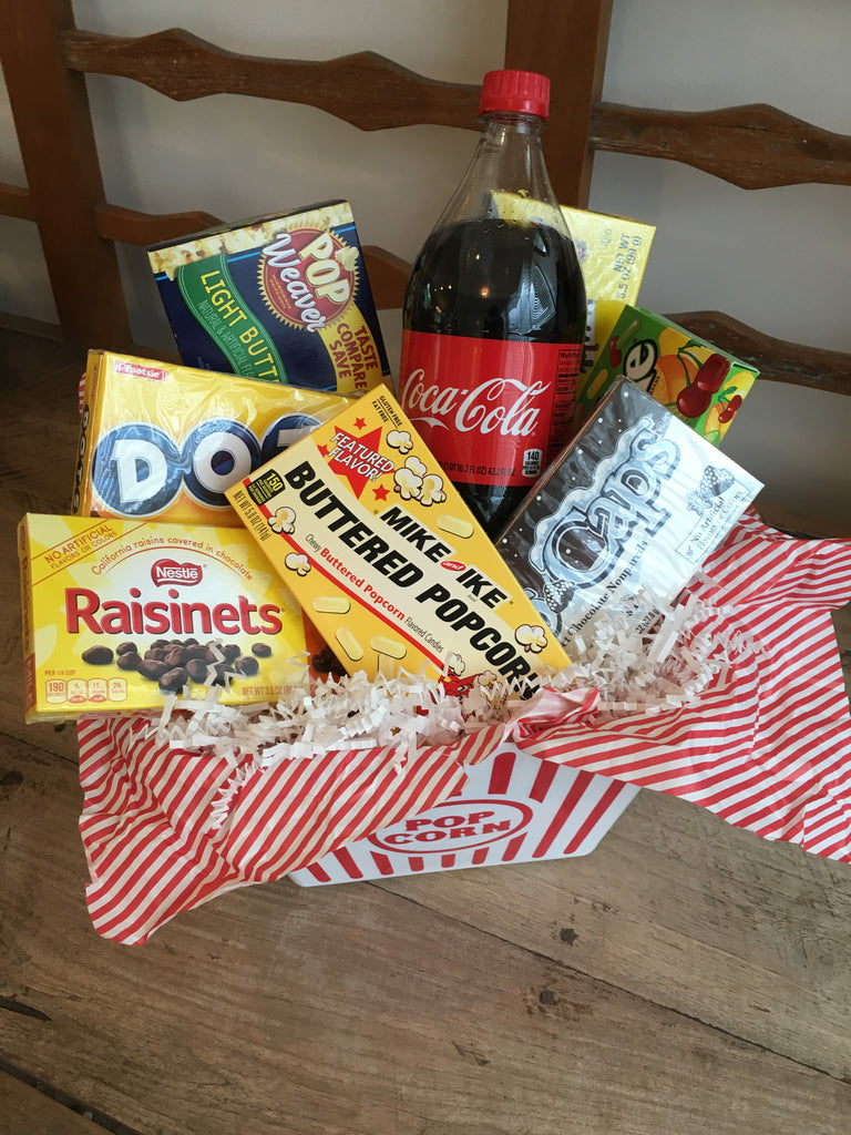 movie night themed gift box, kosher, can ship.