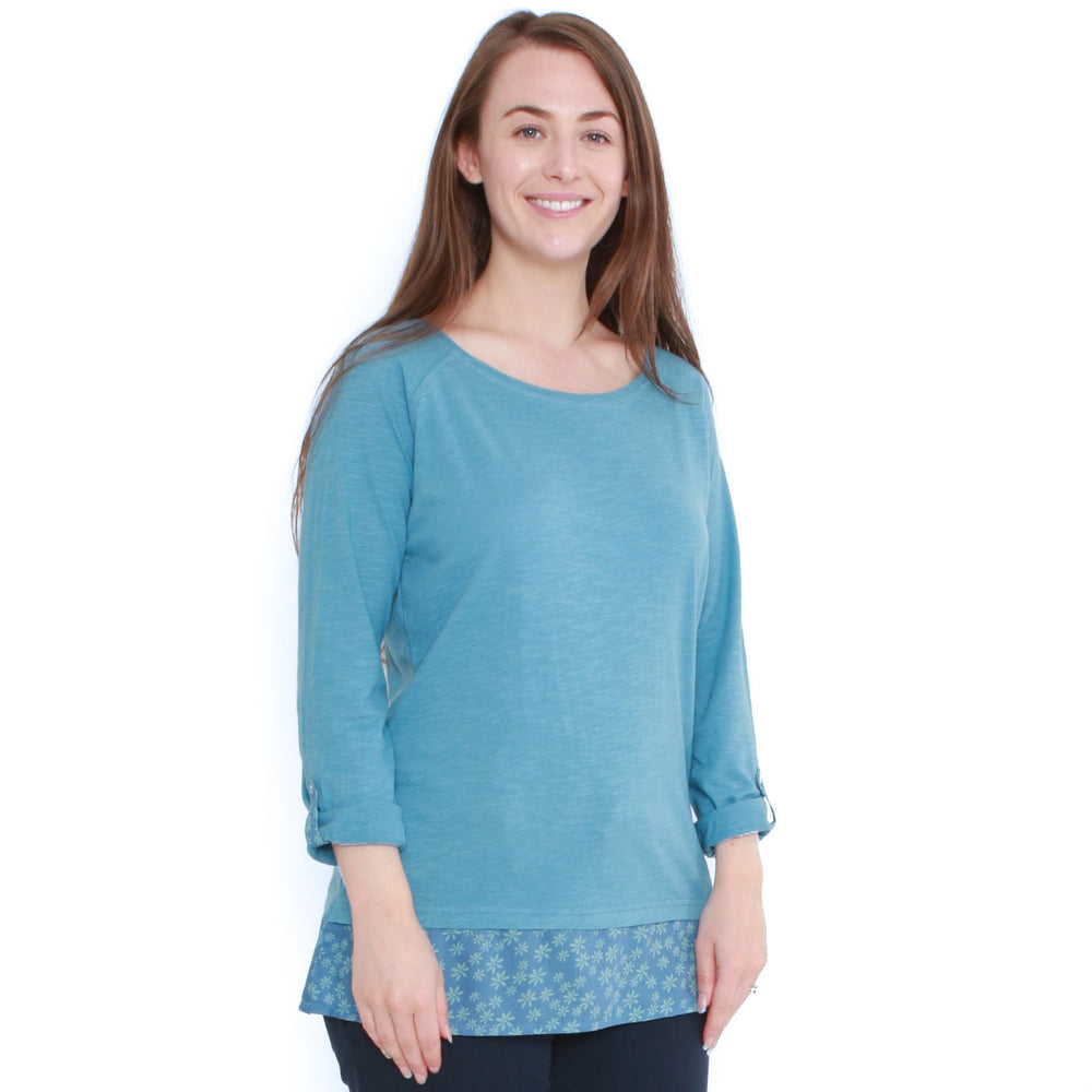 Mock Layer Roll Sleeve Top