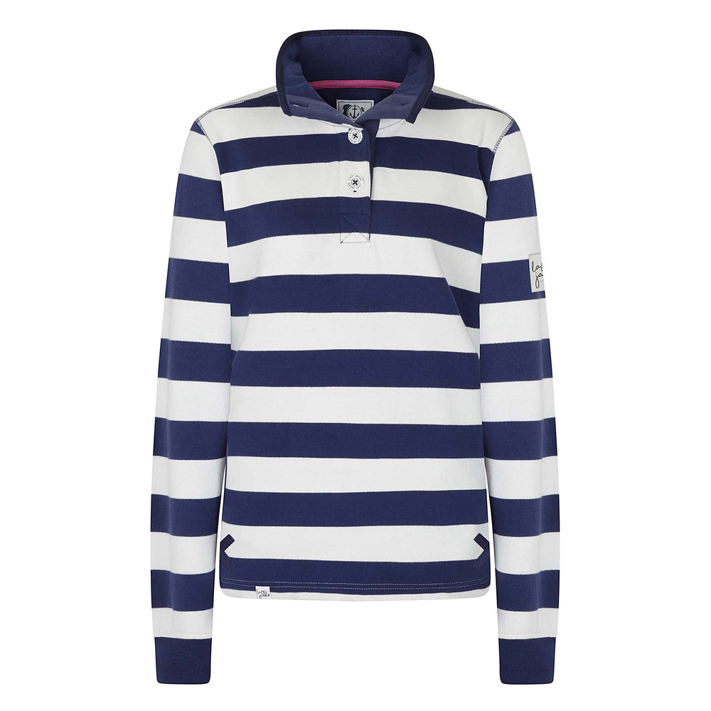 Striped Button Neck Sweatshirt