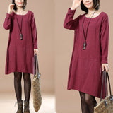 Women Autumn Round Neck Long Sleeve Cotton Dark Red Dress