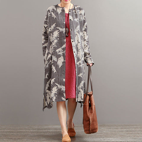 Autumn Ethnic Retro Print Long Sleeve Cardigan Cotton Linen Gray Jacket - BUYINDRESS