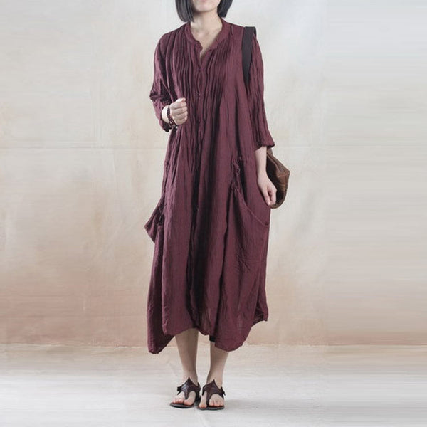 Autumn Single Breasted Pocket Linen Robe Jacket - BUYINDRESS