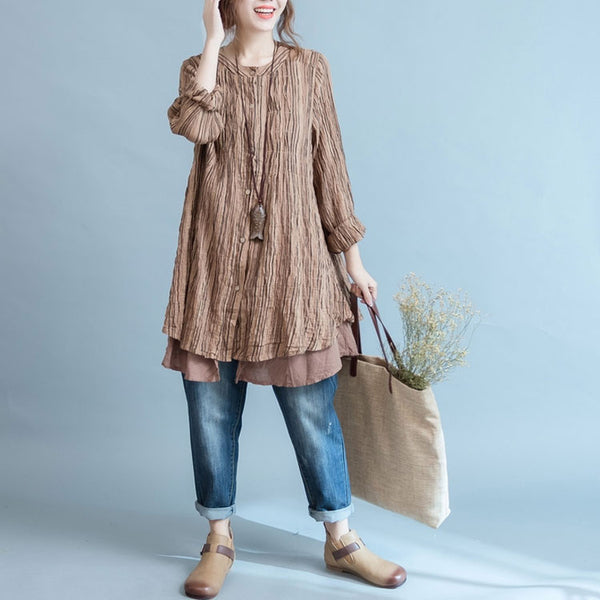 Women cotton linen loose blouse