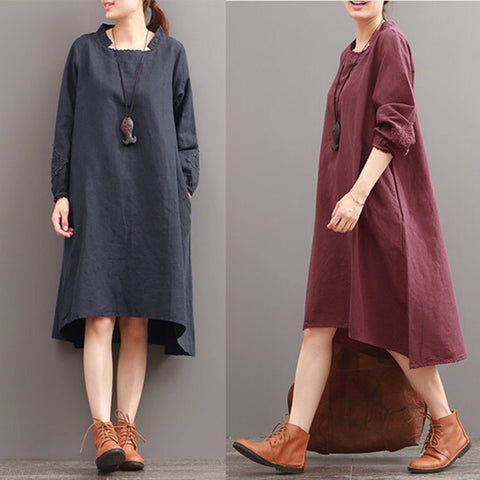 Women Casual Loose Cotton Linen Dress