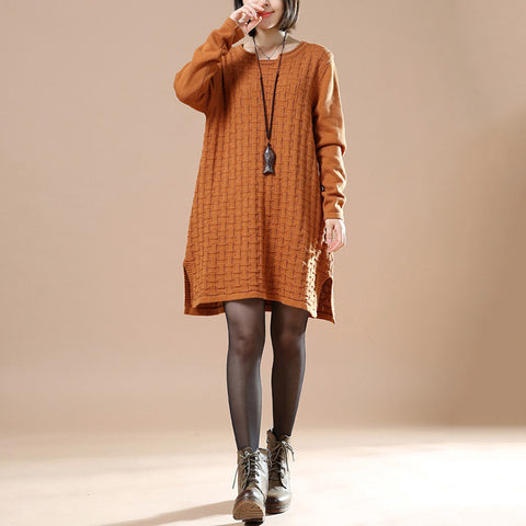 Autumn Casual Long Sleeve Round Neck Knit Sweater - BUYINDRESS