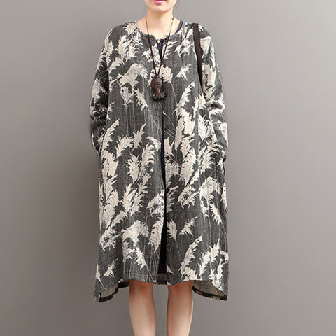Autumn Ethnic Retro Print Long Sleeve Cardigan Cotton Linen Jacket - BUYINDRESS