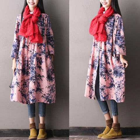 Women's Autumn Loose V Neck Pink Coat